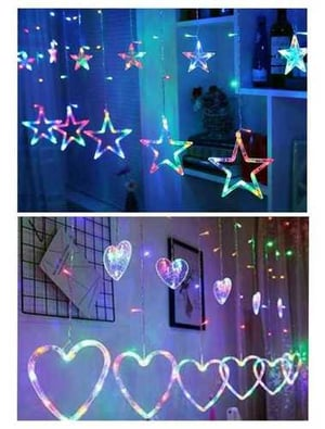 Multicolor LED Star Curtain Fairy String Lights 10 Stars (5 Big And 5 Small) + Multicolor Heart Light Curtain String Lights with 12 Hanging Hearts