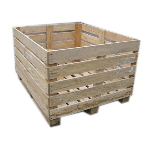 Wood Rectangular Brown Wooden Packing Crate