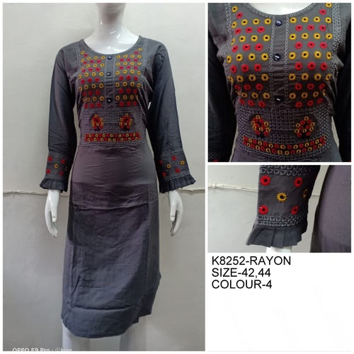 Embroidered Rayon Embroidery Kurties With Elegant Look