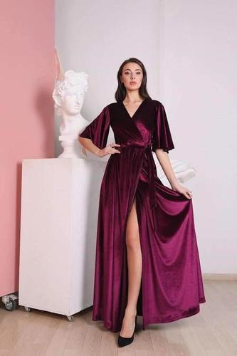 Flutter Long Sleeve Velvet Wrap Dress