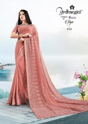 Designer Heavy Embroidery With Gota Work And Diamond Georgette Sarees