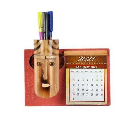 As Shown In Pic Samyak Bamboo Pen Stand And Table Calendar