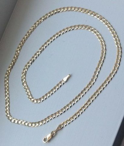14K Solid Yellow Gold 3Mm Cuban Link Chain Necklace Gender: Women