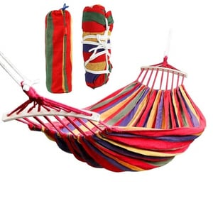 Tallin Canvas Foldable Hammock 260 x 150 cm Camping Prevent Rollover Hanging Swing Bed Red Rainbow Color with Wooden Stick