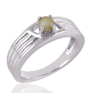 Euthopian Opal Ring Sterling Silver Band Ring