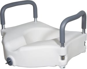 Drive Medical Elevated Raised Toilet Seat with Removable Padded Arms