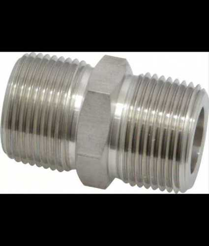 Silver Tone Stainless Steel Hex Nipple