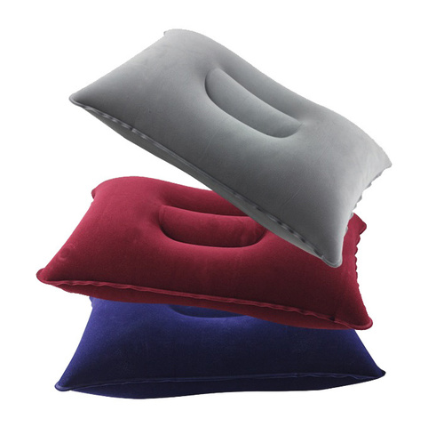 PVC Inflatable Flocked Air Travel Pillow