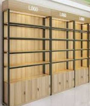 Brown White Shop Cabinets