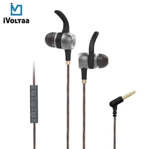 Ivoltaa Earnetic E2 Metal Sports Wired Earphone With Mic And In-line Remote Black And Grey