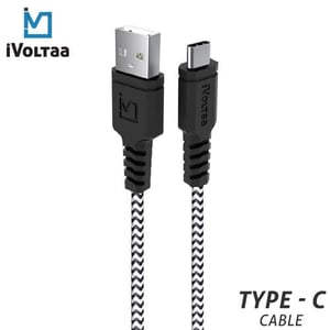 Ivoltaa Rugged Mk2 Tough Unbreakable Braided Type C Usb-c Cable - 1.5 Meter, White And Black