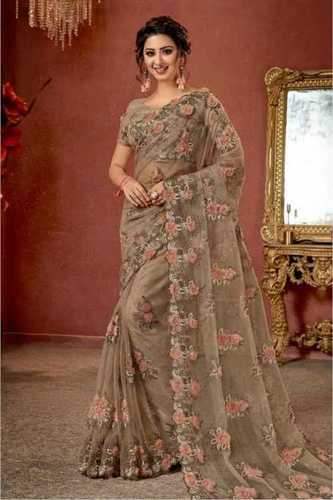 Shrink Resistance Embroidery Sarees