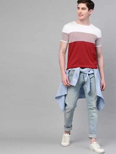 Men's Regular Fit Round Neck Half Sleeve Wine Red T-Shirt