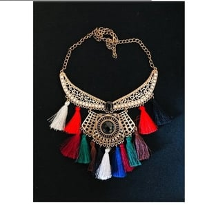 German Silver And Silk Thread Necklace