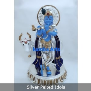 Silver Pelted Lord Krishna Idol for Worshiping