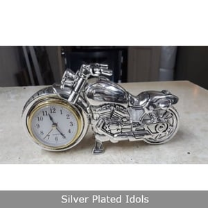Silver Plated Bike with Clock Statue
