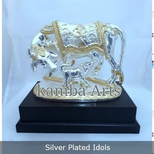 Silver Plated Standing Cow And Calf Idol