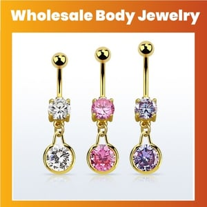 Belly Banana With Prong Set Cubic Zirconia Stone