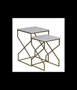 Handcrafted Marble Top Nesting Tables Set