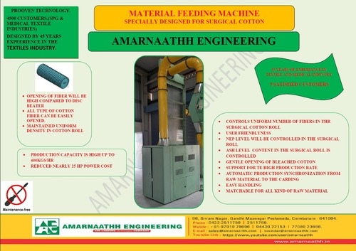 Material Feeding Machine For Blow Room (For Cotton Synthetic And Surgical Cotton Processing)