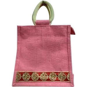 Pink Embroidery Jute Lunch Bag