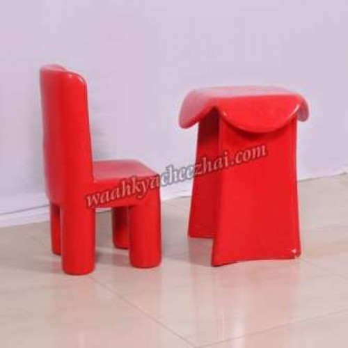Kids Fiber Red Long Table And Chair Set