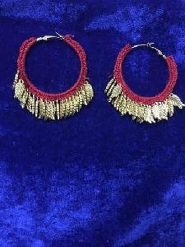 Ladies Gold Pom Pom Earrings