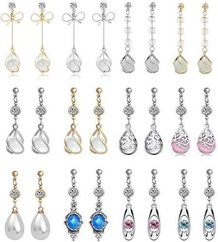 12 Pairs Female Teardrop Crystal Drop Dangle Earrings