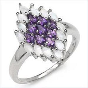 Opal and Amethyst Sterling Silver Ring
