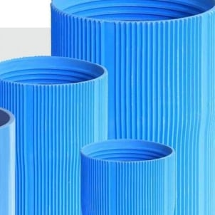 117MM Round Ribbed Blue PVC Casing Pipe