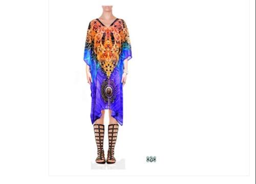 Crystals Embellished Short Georgette Kaftan