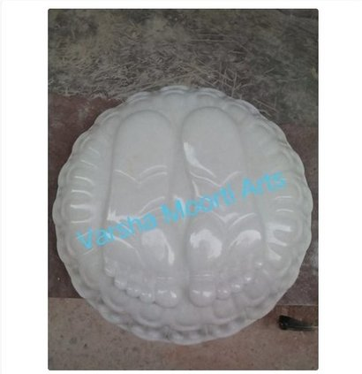 Easy To Clean Glossy White Marble Charan Paduka