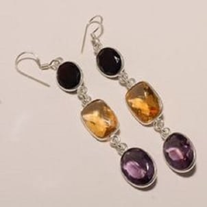Silver Hanging Earring With Multiple Semi Precious Gemstone