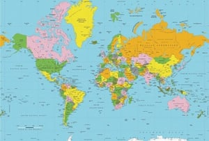 Multicolor World Physical Political Map