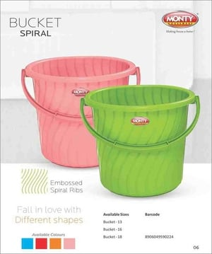 Storage Bucket with Embossed Spiral Rib