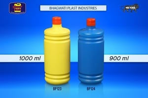 900 ml and 1000 ml Yellow and Blue Color BP123 Plastic Bottles