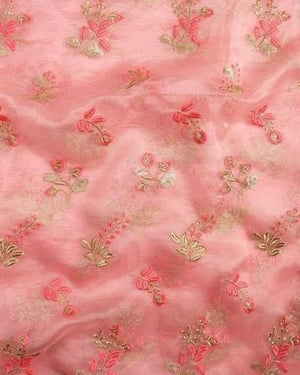 Embroidered Tissue Printed Fabric