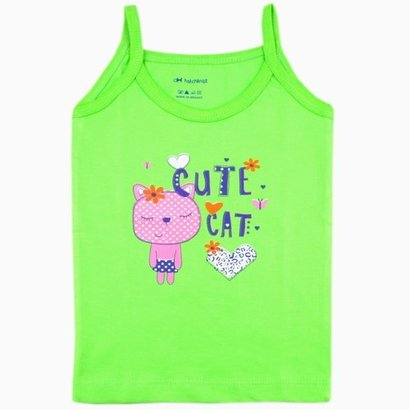All Green Color Printed Pink Color Sleveless Baby Girl Vest