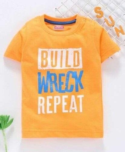 Orange Color Half Sleeves Baby Printed T Shirt