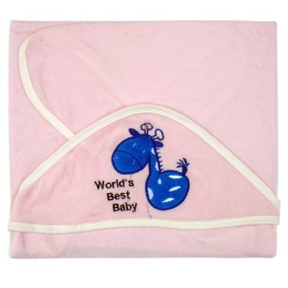 All Pink Color Cotton Terry Baby Hooded Towel
