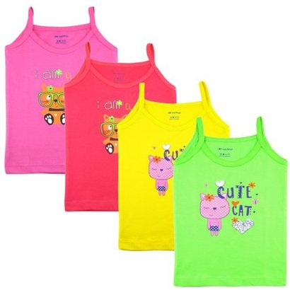 All Printed Pink Color Sleveless Baby Girl Vest