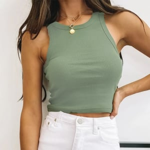 Solid Color Threaded Sleeveless T-shirt