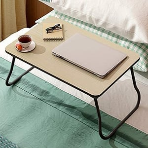 Three Secondz Folding Laptop Breakfast Tray Natural Bed Table for Study (Study Table)