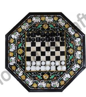 Marble And Semi Precious Stone Chess Table