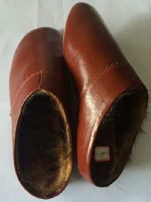 Plain Winter Leather Slippers