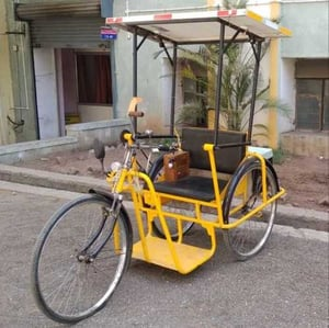 Yellow Solar Electrical Tricycle
