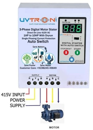 Digital Motor Stater Control Panel with Auto Time Switch Dry Run /phase/current & Voltage Protection