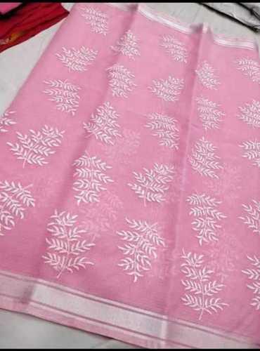 Kota Cotton Embroidery Work Saree