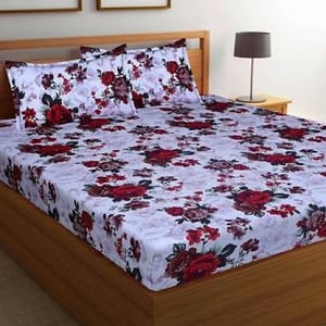 Floral Printed Bed Sheets With Pillow Cover