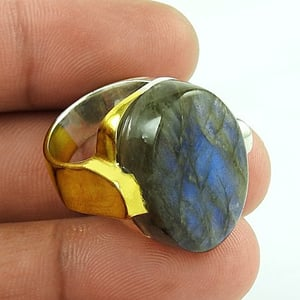 925 Sterling Silver Gold Plated Labradorite Ring